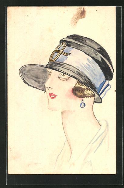 Künstler-AK Handgemalt: Damenportrait mit Hut und Ohrring