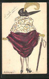 Künstler-AK Handgemalt: Modische Dame in Rückenansicht mit Hut und Schirm