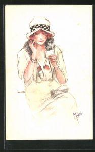 Künstler-AK Handgemalt: Junge Dame mit Hut und Pelzkragen