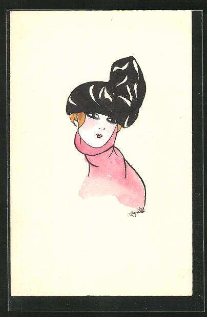 Künstler-AK Handgemalt: Damenportrait mit Rollkragen und extravagantem Hut