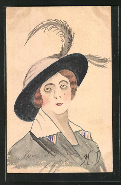 Künstler-AK Handgemalt: Damenportrait mit Federhut