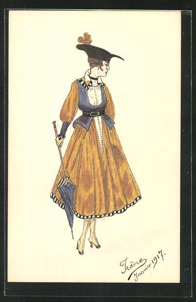 Künstler-AK Handgemalt: Dame im modischen Kleid mit Hut und Schirm