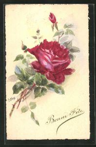 Künstler-AK Handgemalt: Rosenzweig mit grosser roter Blüte