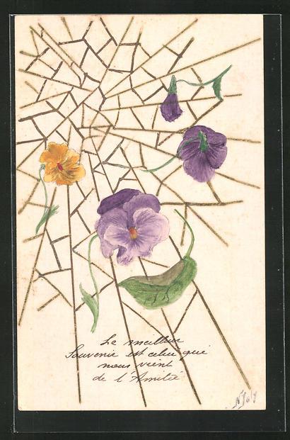 Künstler-AK Handgemalt: Blüten im Spinnennetz
