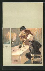 Künstler-AK Leopoldo Metlicovitz: Tosca, Herr bei Tisch