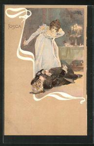 Künstler-AK Leopoldo Metlicovitz: Tosca, Am Boden liegender Herr und Dame mit Pickel
