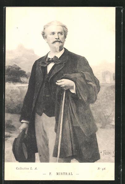 AK Portrait Frederic Mistral mit Hut und Stock