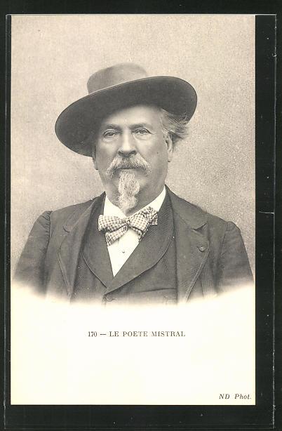 AK Portrait Frederic Mistral mit Hut und Fliege
