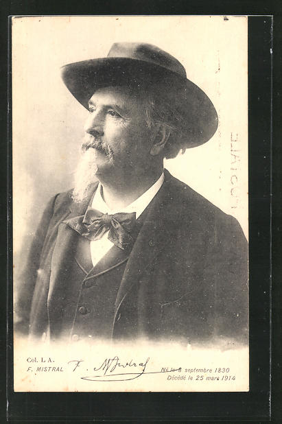 AK Portrait Frederic Mistral mit Fliege und Hut