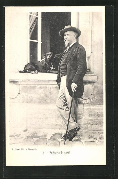 AK Portrait Frederic Mistral mit Hund