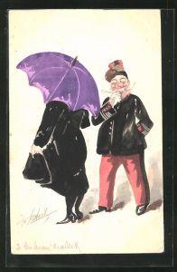 Künstler-AK Handgemalt: Frau mit Schirm und Soldat in Uniform