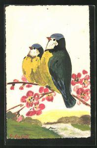 Künstler-AK Handgemalt: Zwei Vögel auf einem Zweig