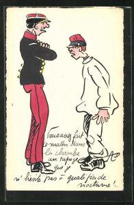 Künstler-AK Handgemalt: Soldat in Uniform und Untergebener