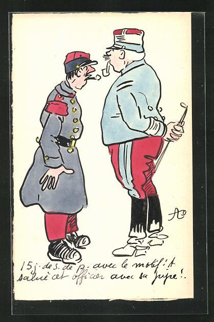 Künstler-AK Handgemalt: Zwei Soldaten in Uniform mit Pfeife