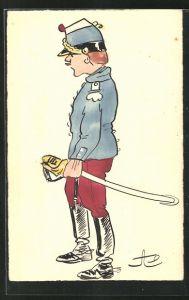 Künstler-AK Handgemalt: Soldat in Uniform mit Schirmmütze