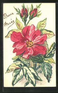 Künstler-AK Handgemalt: Blumen und Neujahrsgruss