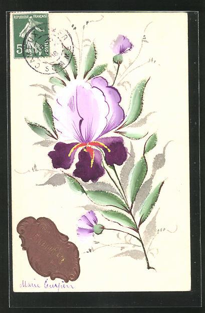 Relief-Künstler-AK Handgemalt: Blume und Neujahrsgruss 0