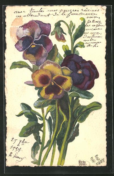 Künstler-AK Handgemalt: Bildnis von Blumen 0