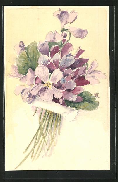 Künstler-AK Handgemalt: Bildnis eines Blumenstrauss