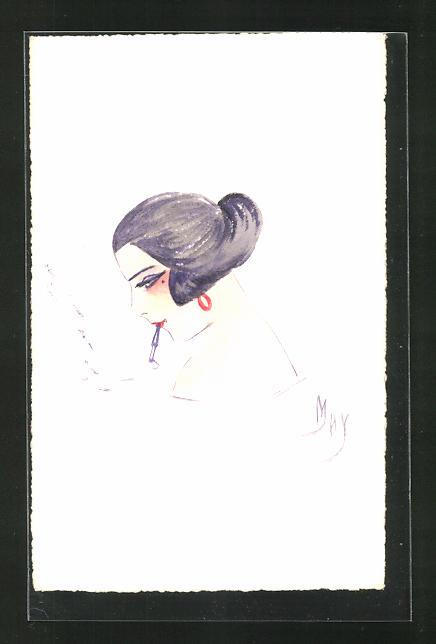 Künstler-AK Handgemalt: Dame mit Zigarette 0