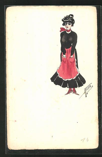 Künstler-AK Handgemalt: Frau mit Schürze 0