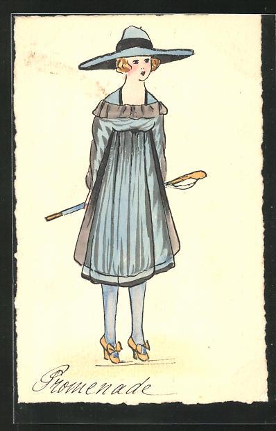 Künstler-AK Handgemalt: Frau mit Hut im blauen Kleid 0