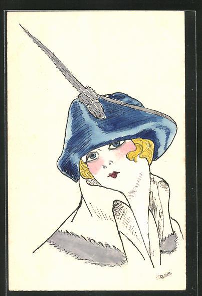 Künstler-AK Handgemalt: Frau mit blauem Hut 0