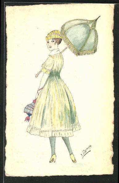 Künstler-AK Handgemalt: Frau mit Schirm 0