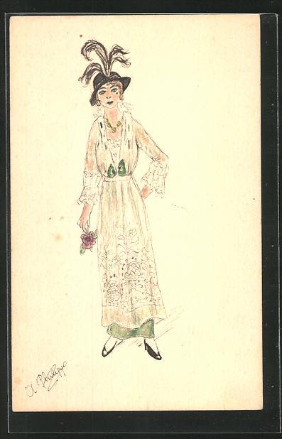 Künstler-AK Handgemalt: Frau mit Hut und Blume