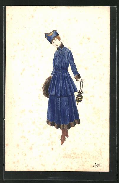 Künstler-AK Handgemalt: Frau im Blauen Kostüm mit Hut
