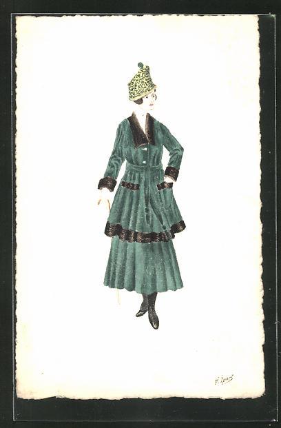 Künstler-AK Handgemalt: Frau im grünen Kostüm mit Hut