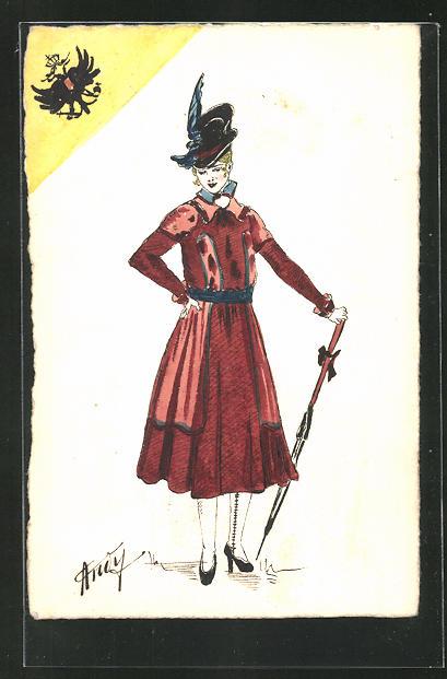 Künstler-AK Handgemalt: Frau mit Hut und Schirm