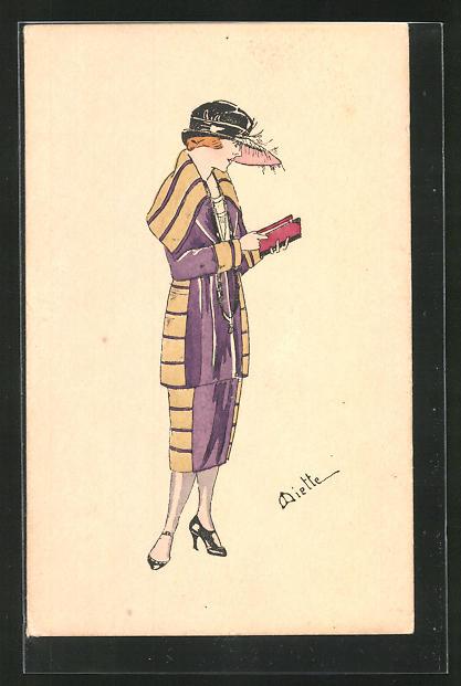 Künstler-AK Handgemalt: Frau mit Hut im Kostüm
