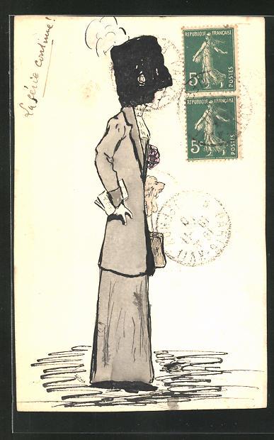 Künstler-AK Handgemalt: Frau mit Hut und Hund im Kostüm