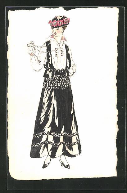 Künstler-AK Handgemalt: Frau in einer Tracht mit Perlenkette 0