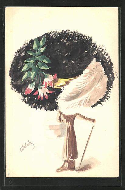 Künstler-AK Handgemalt: Frau mit grossem Hut