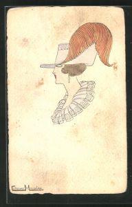 Künstler-AK Handgemalt: Frau mit Hut