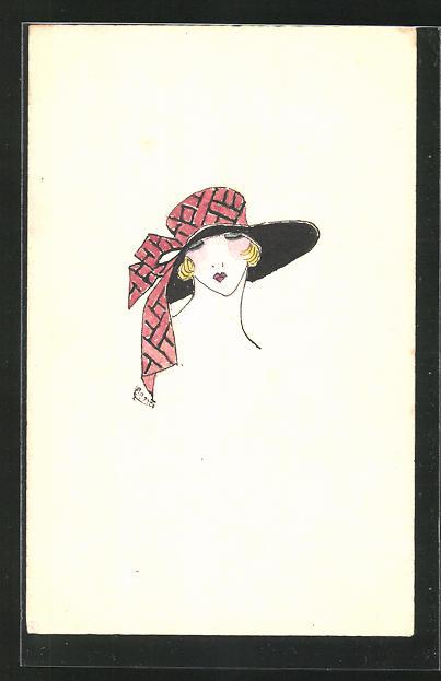Künstler-AK Handgemalt: Frau mit Hut 0