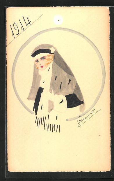 Künstler-AK Handgemalt: Frau mit Kopftuch 1914 0