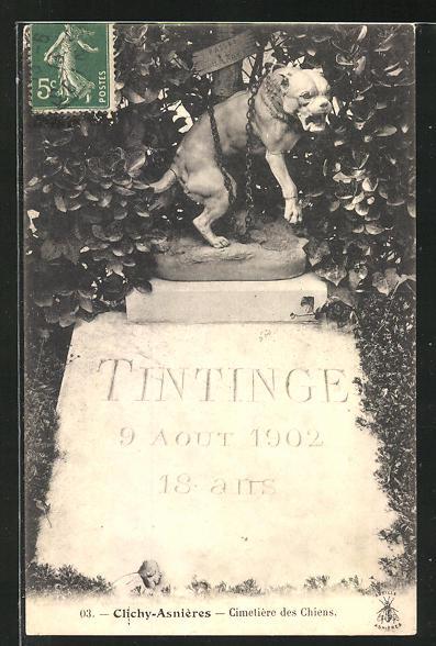 AK Clichy-Asnières, Cimetière des Chiens, Hunde-Grabstein auf einem Friedhof 0