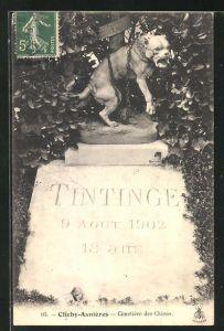 AK Clichy-Asnières, Cimetière des Chiens, Hunde-Grabstein auf einem Friedhof