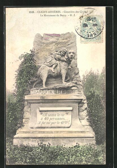 AK Clichy-Asnières, Cimetière des Chiens, Le Monument du Barry, Grabstein für einen Hund, Friedhof