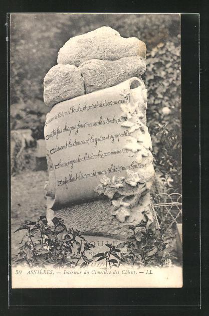 AK Asnières, Intérieur du Cimetière des Chiens, Grabstein auf einem Hunde-Friedhof