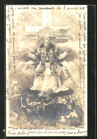 AK Papst Pius X. auf dem päpstlichen Thron, Vatikan, La Paix soit avec vous 0