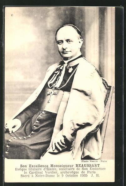 AK Monseigneur Beaussart, Eveque titulaire d`Elatée, Halbportrait