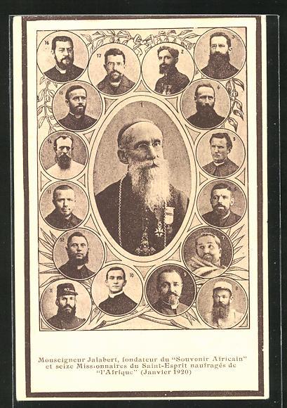 AK Monseigneur Jalabert, fondateur du Souvenir Africain, Halbportrait 0