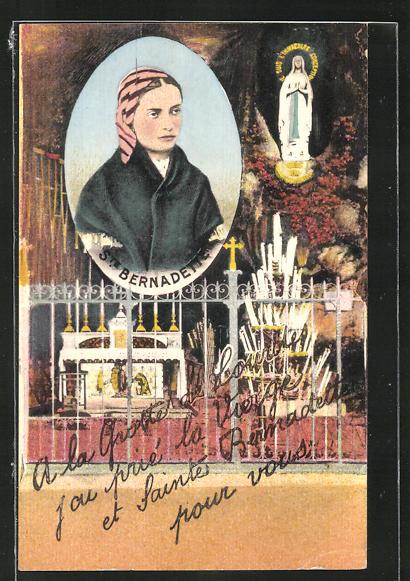AK Lourdes, Heilige Bernadette, Halbportrait, Blick in die Lourdes-Grotte 0