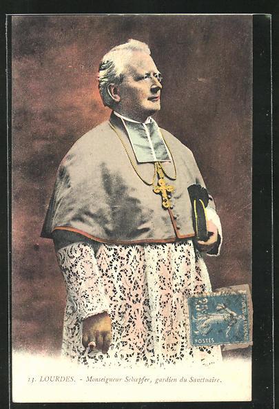 AK Lourdes, Monseigneur Schoepfer, Halbportrait