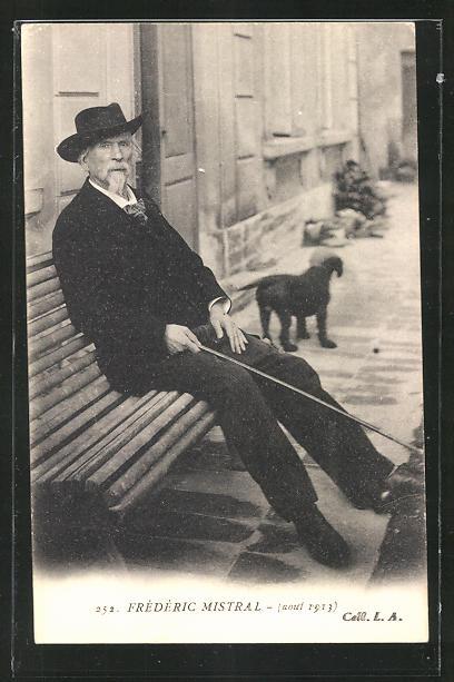 AK Dichter Frederic Mistral sitzt mit Hut und Stock auf einer Bank 0