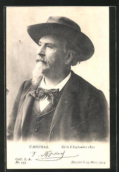 AK Dichter Frederic Mistral mit Anzug und Hut, Halbportrait
